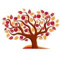 Tree with ripe apples harvest season theme illustration fruitfulness and fertility idea symbolic image Royalty Free Stock Images