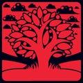 Tree with ripe apples placed on stylized background harvest sea season theme illustration fruitfulness and fertility idea symbolic Royalty Free Stock Image