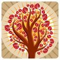 Tree with ripe apples placed on stylized background harvest season theme illustration fruitfulness and fertility idea symbolic Stock Photo