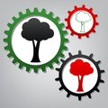 Tree sign illustration. Vector. Three connected gears with icons