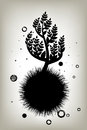 Tree silhouette icon grunge black vector Royalty Free Stock Photography