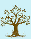 Tree Silhouette with Leaves and Vines Brown Royalty Free Stock Photo