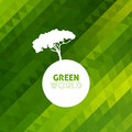 Tree silhouette vector earth on geometric modern green background Royalty Free Stock Images