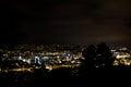 Tree Silouhette Stuttgart Landscape View Night Glowing City Royalty Free Stock Photo