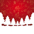 Tree snow stars red white background Stock Images