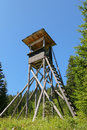 Tree stand or deer stand on mountain for hunters an elevated wooden platform known as to have a better sight Stock Photo