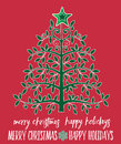 Tree with star topper  and Christmas Message Royalty Free Stock Photo