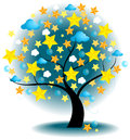 Tree of stars vector a big with shiny little and weather symbols on the branches create by Royalty Free Stock Image