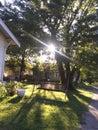 Tree sunset swing yard front Royalty Free Stock Photo