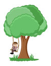 Tree swing cartoon vector conceptual drawing art of man on a illustration Royalty Free Stock Image