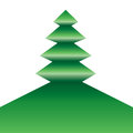 Tree symmetric a icon folded in green on white Stock Photography