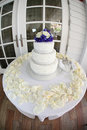 Tree tier Wedding Cake at the beach house Royalty Free Stock Photography