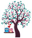 Tree with Valentine owls theme 1 Royalty Free Stock Photo