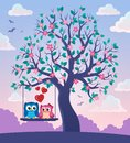 Tree with Valentine owls theme 2 Royalty Free Stock Photo