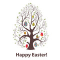 Tree vector picture with and easter eggs Royalty Free Stock Image