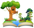Treehouse by the river on a book Royalty Free Stock Photo