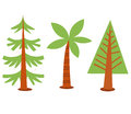 Trees collection set of different style illustration Royalty Free Stock Photography