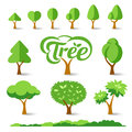 Trees collections set design illustrations Stock Image