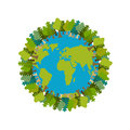 Trees and Earth. Planet and forest. Earthly nature. Earth Day In Royalty Free Stock Photo