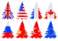 Trees from flag christmas national on a white background Royalty Free Stock Photography