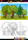 Trees and forest cartoon for coloring book or page illustration of bushes in the children education Royalty Free Stock Photos
