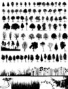 Trees, grass, plant vector