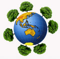 Trees growing around the Earth globe isolated on w Royalty Free Stock Images