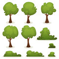 Trees hedges and bush set illustration of a of cartoon spring or summer other green forest elements with Stock Image