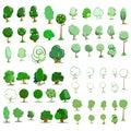 Trees icon set. Vector illustration. Royalty Free Stock Photo