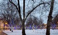 Trees illuminated to christmas holidays at night and new year in moscow russia Stock Images