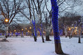 Trees illuminated to christmas holidays at night and new year in moscow russia Royalty Free Stock Photography