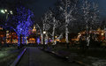 Trees illuminated to christmas and new year holidays at night in moscow russia Stock Photo