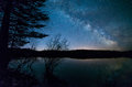 Trees with milky way above a lake Stock Photos