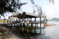 Trees and pier modern in lumut malaysia Royalty Free Stock Photo