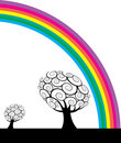 Trees and rainbow  Stock Photos