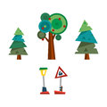 Trees and road sign vector illustration.