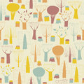 Trees seamless pattern in colors is hand drawn illustration of forest illustration is eps vector mode background on separate Stock Images