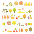Trees set autumn file Royalty Free Stock Image