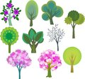 Trees set decorative summer and spring Stock Image