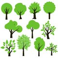 Trees set simple green and black Royalty Free Stock Images