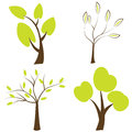 Trees silhouettes, set of trees icons Royalty Free Stock Image