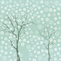Trees with snowflakes Stock Photo