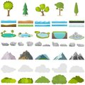 Trees, stones, lakes, mountains, shrubs. A set of realistic elements of nature. Royalty Free Stock Photo