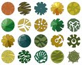 Trees top view. Different icon of plants and trees for architectural or landscape plan. View from above. Royalty Free Stock Photo