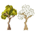 Trees tree icons in low poly style Stock Photos