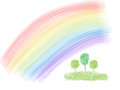 Trees under rainbow green multicolor Royalty Free Stock Photography