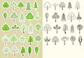 Trees vector kolekcja projektów elementy odizolowywający dla projekta Zdjęcie Royalty Free
