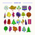 Trees vector set of fantastic in different styles Stock Photos