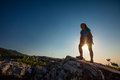 Trekker in crimea mountains at the sunrise Stock Photography