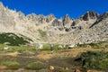 Trekker in mountain walley Royalty Free Stock Photo